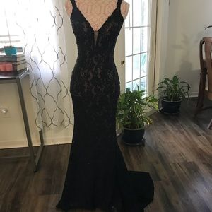 Jovani black sequined lace evening gown